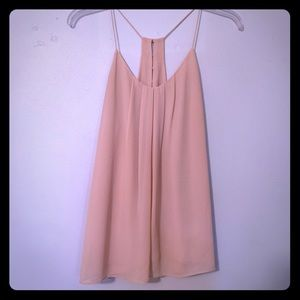 Pretty nude tank with gold button detail small